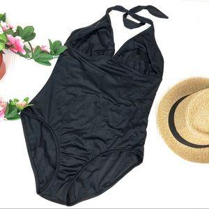 J. Crew 16 (D Cup) Black One Piece Bathing Suit